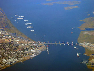 Suisun Bay - Aerial  photo of the Suisun Bay. Benicia to the left, Martinez to the right.