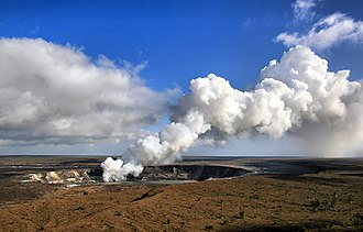 Pele (deity) - According to legend, Pele lives in the Halema{{okina}}uma{{okina}}u crater Kīlauea