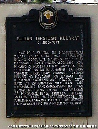 Muhammad Kudarat - Image: Sultan Kudarat historical marker