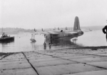 Sunderland II of No 11 Squadron RAAF, about to be brought out of the water at Pembroke Dock.png