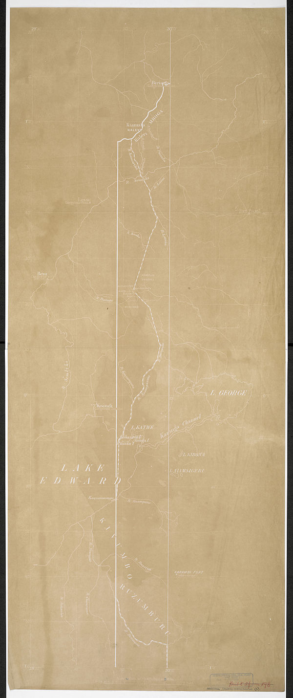 600px sunprint showing 30th meridian %26 proposed boundary %281908%29   war office ledger %28woos 14 11%29