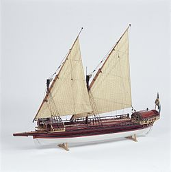 Contemporary model of an early 18th-century Swedish galley from the collections of the Maritime Museum in Stockholm