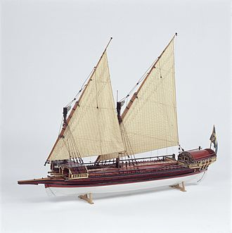 Pojama - Contemporary model of an early 18th-century Swedish galley from the collections of the Maritime Museum in Stockholm. Small galleys like this one were a mainstay of the first Swedish coastal fleets.