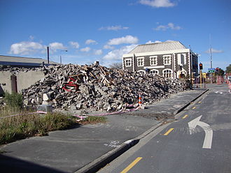 Sydenham, New Zealand - Sydenham Heritage Church after demolition, with the Post Office in the background