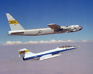 Balls 8 - A NASA TF-104G (below) flies chase on the NB-52B Balls 8 (above) on 14 September 1979.