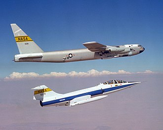 Balls 8 - A NASA TF-104G (below) flies chase on the NB-52B Balls 8 (above) on 14 September 1979.