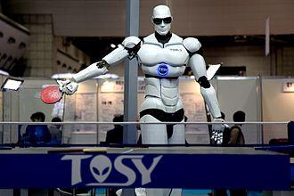 Humanoid robot - TOPIO, a humanoid robot, played ping pong at Tokyo International Robot Exhibition (IREX) 2009.