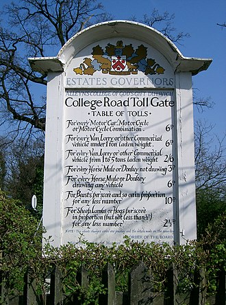Toll road - A table of tolls in pre-decimal currency for the College Road, Dulwich, London SE21 tollgate.