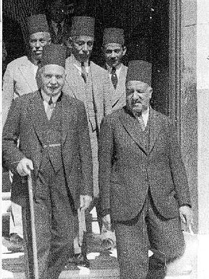 Banque Misr - Talaat Harb and Medhat Yakan at the opening of a new branch of Banque Misr in 1935.