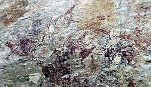 Prehistoric Malaysia - Cave paintings of Tambun, 2000 years old, in Ipoh, Perak, Malaysia.