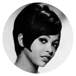 Tammi Terrell in spiegelbeeld in 1968