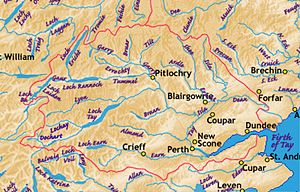 River Almond, Perth and Kinross - The River Almond within the River Tay catchment