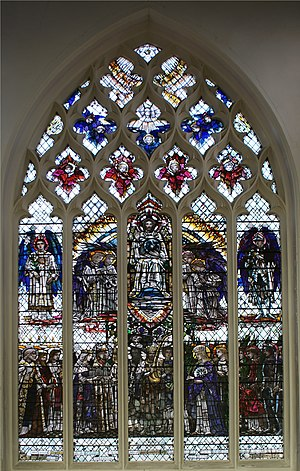 Te Deum - Te Deum stained glass window by Christopher Whall at St Mary's church, Ware, Hertfordshire
