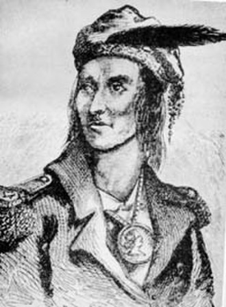 Benson John Lossing - Portrait of Tecumseh by Benson John Lossing, after a pencil sketch by French trader Pierre Le Dru at Vincennes, published in Pictorial Field-Book of the War of 1812