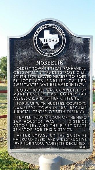Mobeetie, Texas - Texas Historical marker for Mobeetie