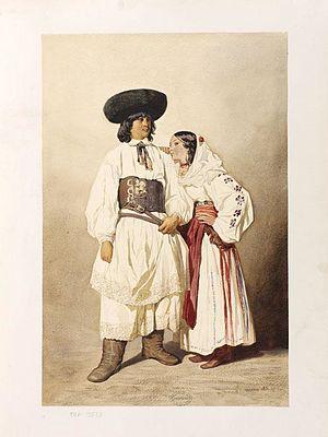Lugoj - Théodore Valerio, Romanian peasants from around Lugos, 1851