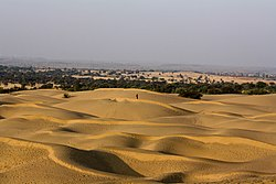 Most of the Thar Desert, which forms a natural boundary between India and Pakistan, is located in Rajasthan