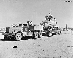 Tank transporter - M19 Tank Transporter, composed of an M20 tractor unit and M9 semi-trailer