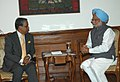 The Chief Advisor of Bangladesh, Dr Fakhruddin Ahmed calling on the Prime Minister, Dr. Manmohan Singh, on the eve of 14th SAARC Summit, in New Delhi on April 02, 2007.jpg