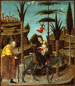 The Flight into Egypt c. 1485 Bernardino Butinone.jpg
