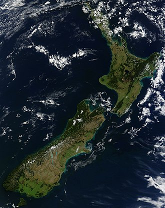 Pounamu - From space, the west coast of New Zealand resembles the greenstone after which it is named.