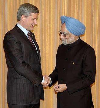 34th G8 summit - Stephen Harper with Manmohan Singh