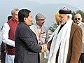 The Prime Minister, Shri Narendra Modi being welcomed by the Chief Minister of Sikkim, Shri Pawan Kumar Chamling on his arrival, in Gangtok on January 18, 2016.jpg