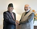 The Prime Minister, Shri Narendra Modi meeting the former Prime Minister of Nepal, Shri Pushpa Kamal Dahal 'Prachanda', in Kathmandu, in Nepal on May 12, 2018.JPG