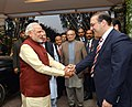 The Prime Minister, Shri Narendra Modi visits the Prime Minister of Pakistan, Mr. Nawaz Sharif's home in Raiwind, where his grand-daughter's wedding is being held, in Pakistan on December 25, 2015 (1).jpg