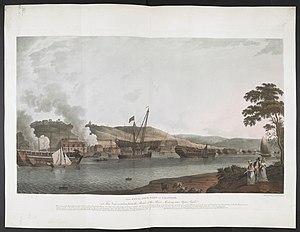 Ilustracja przedstawiająca stocznię z końca XVIII wieku