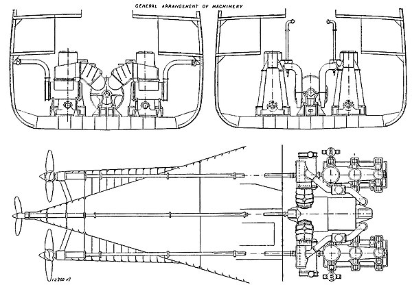 The Steam Turbine, 1911 - Fig 43 to 45 - The Combination Machinery in the 'Otaki.'.jpg