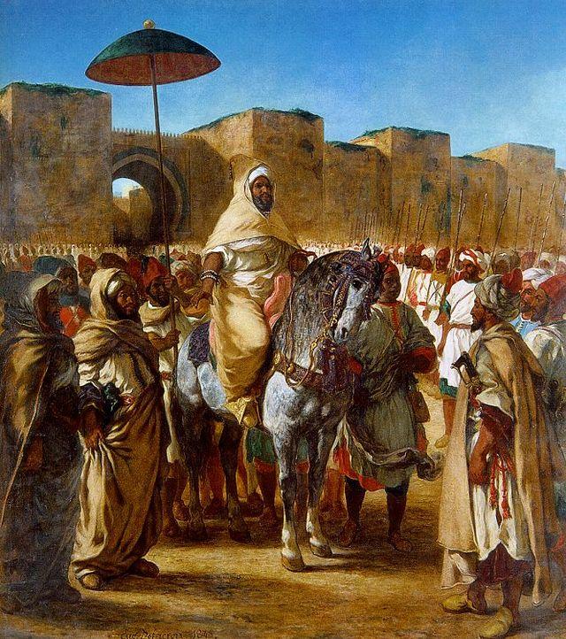 A droite: Sultan Moulay Abd Al-Rhaman entouré de sa garde, sortant de son palais de Meknès. A gauche: esquisse exposée au Musée des beaux-arts de Dijon. Eugène Delacroix, 1845