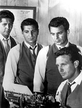 The Untouchables (1959 TV series) - The cast from left: Abel Fernandez, Nicholas Georgiade, Paul Picerni, (seated) Robert Stack (not shown: Steve London)