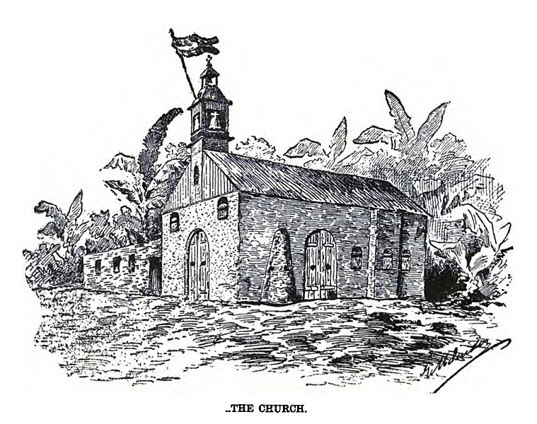 """File:The church of Baler from """"Under the red and gold"""".jpg"""