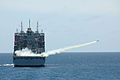 The dry cargo and ammunition ship USNS Washington Chambers (T-AKE 11) launches a BQM-74 target drone during a live-fire missile exercise as part of the at-sea phase of Cooperation Afloat Readiness and Training 130608-N-AX577-071.jpg