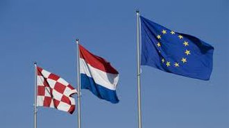 Flag of North Brabant - From left to right: The flag of North Brabant, The Netherlands and The European Union
