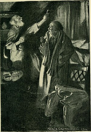 """The Monkey's Paw - Illustration for """"The Monkey's Paw"""" from Jacobs' short story collection The Lady of the Barge (1902)."""
