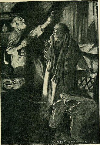 """The Monkey's Paw - Illustration for """"The Monkey's Paw"""" from Jacobs' short story collection The Lady of the Barge (1902)"""