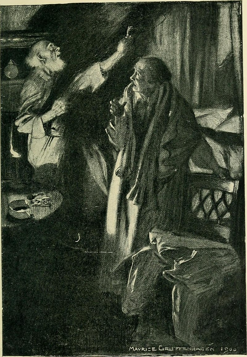 """Illustration for """"The Monkey's Paw"""" from Jacobs' short story collection The Lady of the Barge (1902)"""