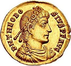 Moneda de oro que representa al hombre con diadema hacia la derecha