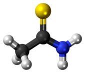 Ball-and-stick model of the thioacetamide molecule