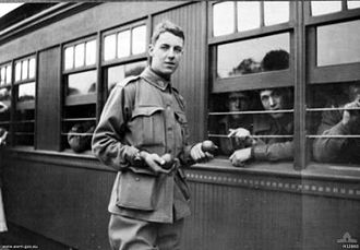 Thomas Baker (aviator) - Gunner Thomas Baker about to board a train from South Australia to Victoria for further military training
