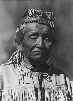 Thorp, Washington - Antoine Bertram moved to the Thorp area with his friends Charles Splawn and F. M. Thorp. He is seen here wearing a buckskin jacket and beaded hat.