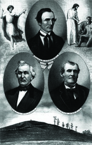 Three Witnesses - The Three Witnesses as depicted by Edward Hart, 1883: Oliver Cowdery (top), David Whitmer (left), and Martin Harris (right).