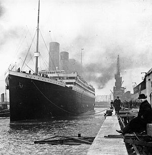 Titanic at the docks of Southampton.