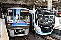 Toei subway 6310F and Tokyu 3122F at Musashi-Kosugi station 20190902 1442.jpg