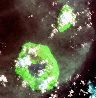 Tofua - Tofua Island (lower left) and neighbouring Kao Island, Tonga, Pacific Ocean