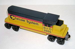 Toy train - A colorful EMD GP40-2 emblazoned with the Chessie System logo, one of many wooden toy trains offered by Whittle Shortline