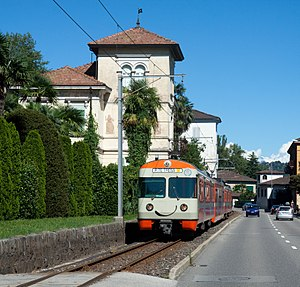 Ponte Tresa - Train of the Lugano-Ponte Tresa Railway arriving in Ponte Tresa