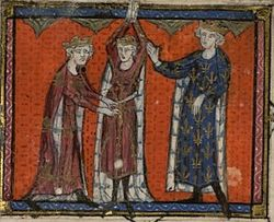 Painting of Edward at a knighting ceremony